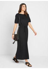 Sukienka bawełniana z dżerseju, z tunelem z troczkiem i rozcięciami bonprix czarny. Kolor: czarny. Materiał: jersey, bawełna