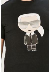 Czarny t-shirt Karl Lagerfeld casualowy, na co dzień, z nadrukiem