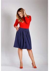 Niebieska spódnica rozkloszowana Nommo plus size