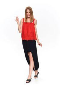 TOP SECRET - Ażurowa bluzka na ramiączkach. Kolor: czerwony. Materiał: tkanina. Długość rękawa: na ramiączkach. Wzór: ażurowy. Sezon: jesień, lato, zima