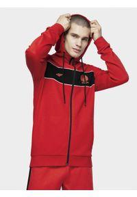 4f - Bluza kibica męska. Typ kołnierza: kaptur. Kolor: czerwony. Materiał: bawełna, dzianina. Wzór: nadruk #1