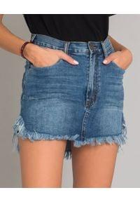 ONETEASPOON - Jeansowa spódnica mini. Stan: podwyższony. Kolor: niebieski. Materiał: jeans. Wzór: aplikacja. Styl: klasyczny, sportowy