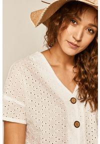 Biała bluzka medicine casualowa, w koronkowe wzory
