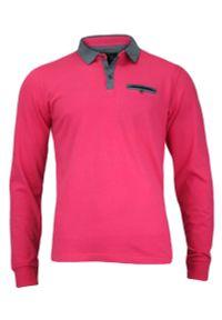 Różowy t-shirt Chiao polo, z długim rękawem