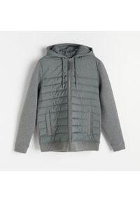 Reserved - Pikowana bluza z łączonych materiałów - Szary. Kolor: szary. Materiał: materiał