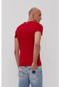 Karl Lagerfeld - T-shirt. Okazja: na co dzień. Kolor: czerwony. Materiał: dzianina. Wzór: nadruk. Styl: casual