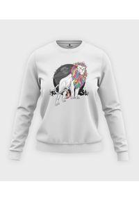 MegaKoszulki - Bluza klasyczna damska Tęczowy lew. Materiał: bawełna. Długość: długie. Wzór: nadruk. Styl: klasyczny