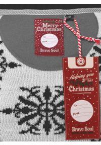 Sweter z Elfem Śmieszny, Szaro-Biały Świąteczny, Pompony, Męski, w Śnieżki -Brave Soul. Kolor: szary, wielokolorowy, biały. Materiał: akryl. Styl: wizytowy