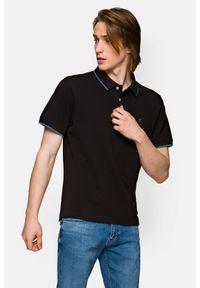 Lancerto - Koszulka Czarna Polo Dominic. Typ kołnierza: polo. Kolor: czarny. Materiał: materiał, tkanina, bawełna, włókno. Długość rękawa: krótki rękaw. Wzór: ze splotem. Styl: klasyczny