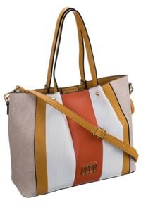 Torebka damska Monnari beżowa BAG1250-M02. Kolor: beżowy. Wzór: aplikacja. Materiał: skórzane. Rodzaj torebki: na ramię
