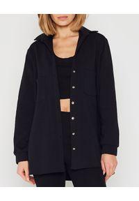 MARLU - Czarna koszula oversize. Okazja: na co dzień. Kolor: czarny. Materiał: elastan, dresówka, jeans, bawełna. Wzór: napisy. Styl: casual