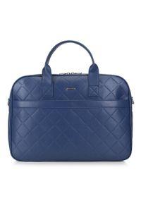 Niebieska torba na laptopa Wittchen w geometryczne wzory, biznesowa