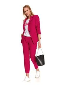 TOP SECRET - żakiet damski w intensywnym kolorze. Kolor: różowy. Długość rękawa: długi rękaw. Długość: długie. Sezon: jesień. Styl: elegancki