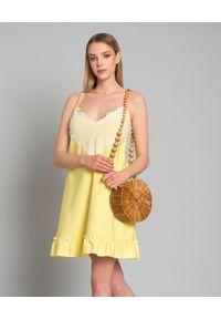Żółta sukienka mini Pinko z aplikacjami, na lato