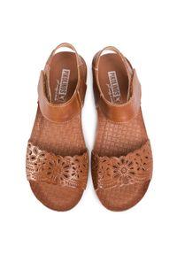 Brązowe sandały Pikolinos casualowe, na średnim obcasie, na obcasie
