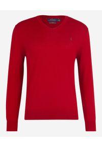 Ralph Lauren - RALPH LAUREN - Sweter z wełny merino. Okazja: na co dzień. Typ kołnierza: polo. Kolor: czerwony. Materiał: wełna. Wzór: haft, kropki. Styl: klasyczny, casual