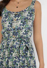 Born2be - Czarno-Niebieska Sukienka Pimene. Okazja: na co dzień. Kolor: czarny. Materiał: tkanina, wiskoza, materiał. Długość rękawa: na ramiączkach. Wzór: kwiaty, aplikacja. Styl: casual. Długość: maxi