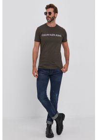 Calvin Klein Jeans - T-shirt bawełniany (2-pack). Kolor: zielony. Materiał: bawełna. Wzór: nadruk