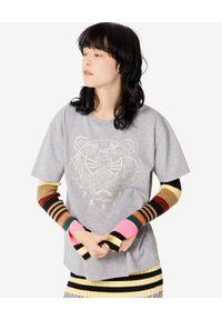 Szary t-shirt Kenzo z aplikacjami, na co dzień
