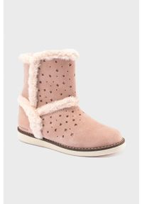 Różowe buty zimowe Mayoral na zamek, z cholewką