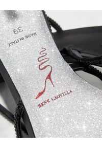 RENE CAOVILLA - Czarne sandały na szpilce Arielle. Zapięcie: pasek. Kolor: czarny. Wzór: paski. Obcas: na szpilce. Wysokość obcasa: średni