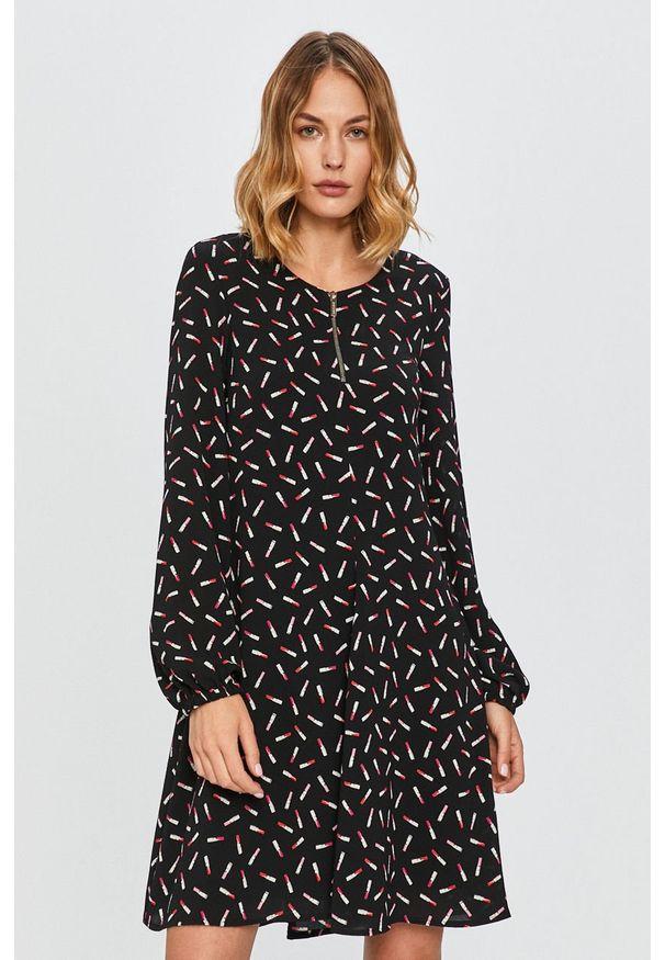 Czarna sukienka Armani Exchange z długim rękawem, casualowa, mini, rozkloszowana