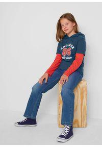 Shirt dziewczęcy z kapturem i w optyce 2 w 1 (2 szt.), bawełna organiczna bonprix ciemnoniebiesko-czerwony sygnałowy. Typ kołnierza: kaptur. Kolor: niebieski. Materiał: bawełna