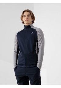 4f - Bluza treningowa męska. Kolor: szary. Materiał: dzianina, materiał. Długość rękawa: raglanowy rękaw