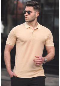 IVET - T-shirt męski CARTER BEIGE. Okazja: na co dzień. Typ kołnierza: polo. Kolor: beżowy. Materiał: materiał. Styl: casual #1