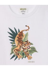 Kenzo kids - KENZO KIDS - Luźna koszulka Jumping Tiger 2-14 lat. Kolor: biały. Materiał: bawełna. Wzór: nadruk. Sezon: lato. Styl: elegancki