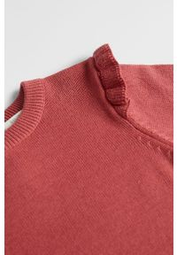Różowy sweter Mango Kids casualowy, z okrągłym kołnierzem, na co dzień