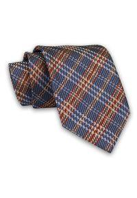 Niebieski krawat Chattier klasyczny, w kratkę