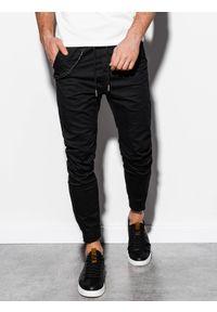 Czarne spodnie Ombre Clothing klasyczne, na co dzień, z aplikacjami