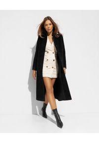 CINZIA ROCCA - Długi czarny płaszcz z wełny alpaki. Kolor: czarny. Materiał: wełna. Długość: długie