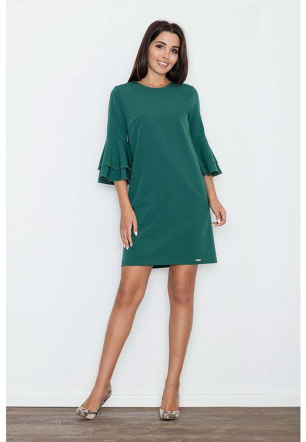 Figl - Zielona Elegancka Sukienka z Hiszpańskim Rękawem. Kolor: zielony. Materiał: wiskoza, poliester. Styl: elegancki