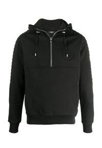 Balmain - BALMAIN - Czarna bluza z kapturem. Typ kołnierza: kaptur. Kolor: czarny. Materiał: prążkowany, bawełna