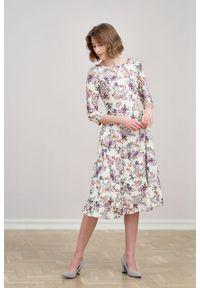Marie Zélie - Sukienka Galatea Belleza kremowa. Kolor: kremowy. Materiał: bawełna, wiskoza, tkanina, materiał