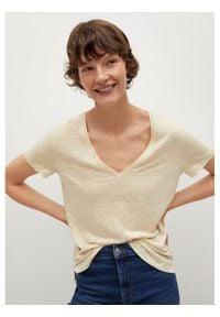 mango - Mango T-Shirt Linito 87915670 Beżowy Regular Fit. Kolor: beżowy