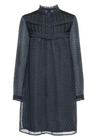 Sukienka z koronką bonprix ciemnoszary. Typ kołnierza: kołnierzyk stójkowy. Kolor: niebieski. Materiał: koronka. Wzór: koronka
