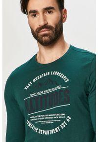 Zielona koszulka z długim rękawem Tom Tailor na co dzień, z nadrukiem