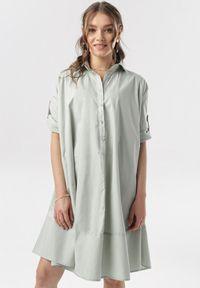 Born2be - Miętowa Sukienka Tye. Kolor: miętowy. Typ sukienki: koszulowe. Styl: elegancki. Długość: mini