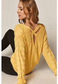 medicine - Medicine - Sweter Basic. Kolor: żółty. Wzór: ze splotem