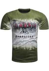 Zielony t-shirt z nadrukiem Recea casualowy, z krótkim rękawem, na co dzień