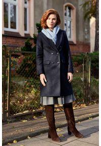 Marie Zélie - Płaszcz wełniany Debora granatowy. Kolor: niebieski. Materiał: wełna. Styl: klasyczny