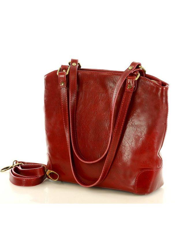 GENUINE LEATHER - MARCO MAZZINI Torebka shopper trapese skórzana artigianato czerwona. Kolor: czerwony. Materiał: skórzane