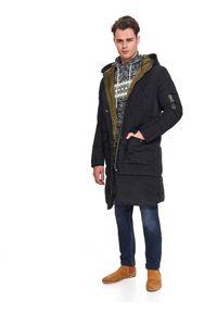 Czarna kurtka TOP SECRET do kolan, elegancka, w kolorowe wzory, z kapturem