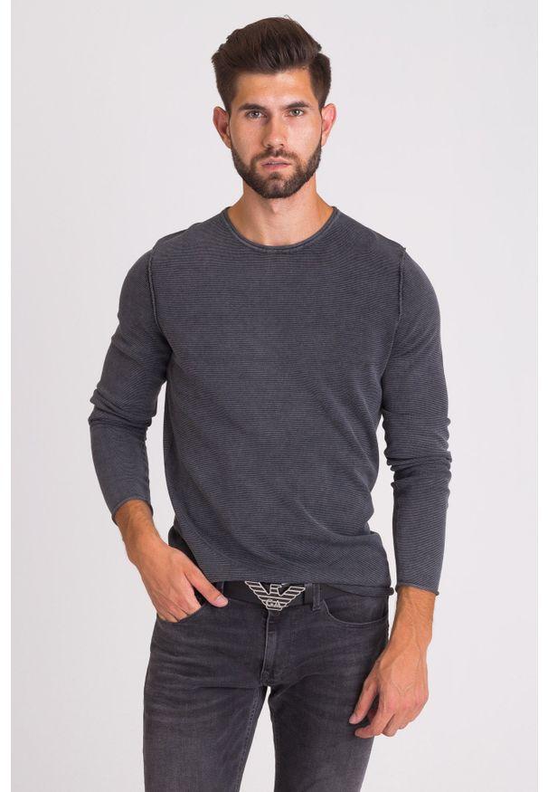 Szary sweter JOOP! Jeans z aplikacjami, z okrągłym kołnierzem, klasyczny