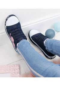 UNDERLINE - Trampki dziecięce Underline FY1801 Granatowe. Zapięcie: bez zapięcia. Kolor: niebieski. Materiał: tkanina, skóra, guma
