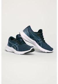 Niebieskie buty sportowe Asics na sznurówki, na obcasie, z okrągłym noskiem, z cholewką