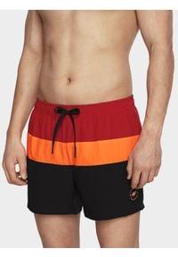 4f - Szorty plażowe męskie. Okazja: na plażę. Kolor: czarny. Materiał: tkanina. Sezon: lato